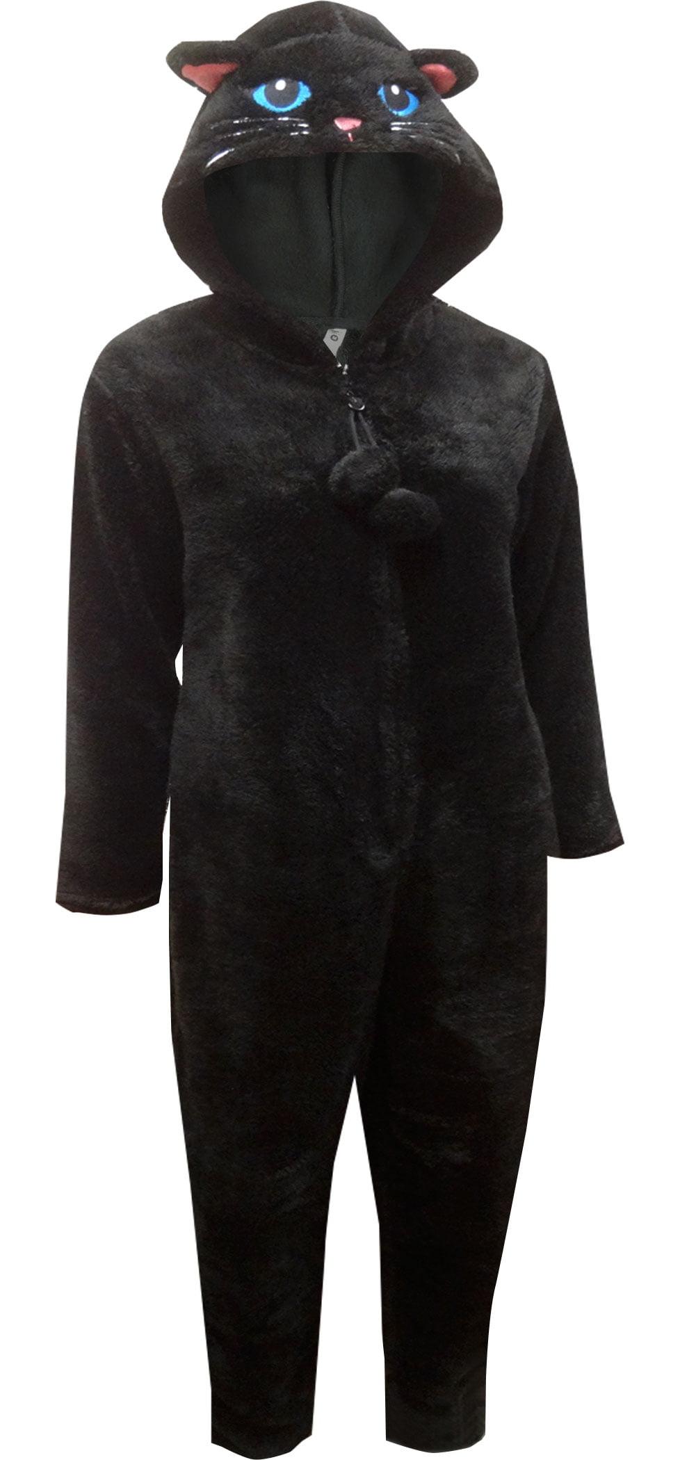 Girl Krazy Women's Plush Black Cat Onesie Hooded Pajama ...