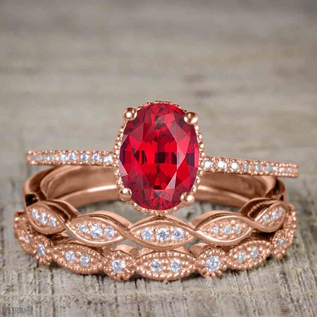 Bestselling 1.50 Carat Oval cut Real Ruby and Cubic Trio Wedding Ring Set in Silver with Rose Gold Plating