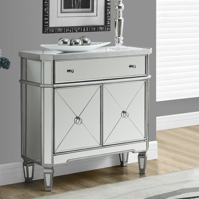 "Monarch Accent Table 32""L / Brushed Silver / Mirror"