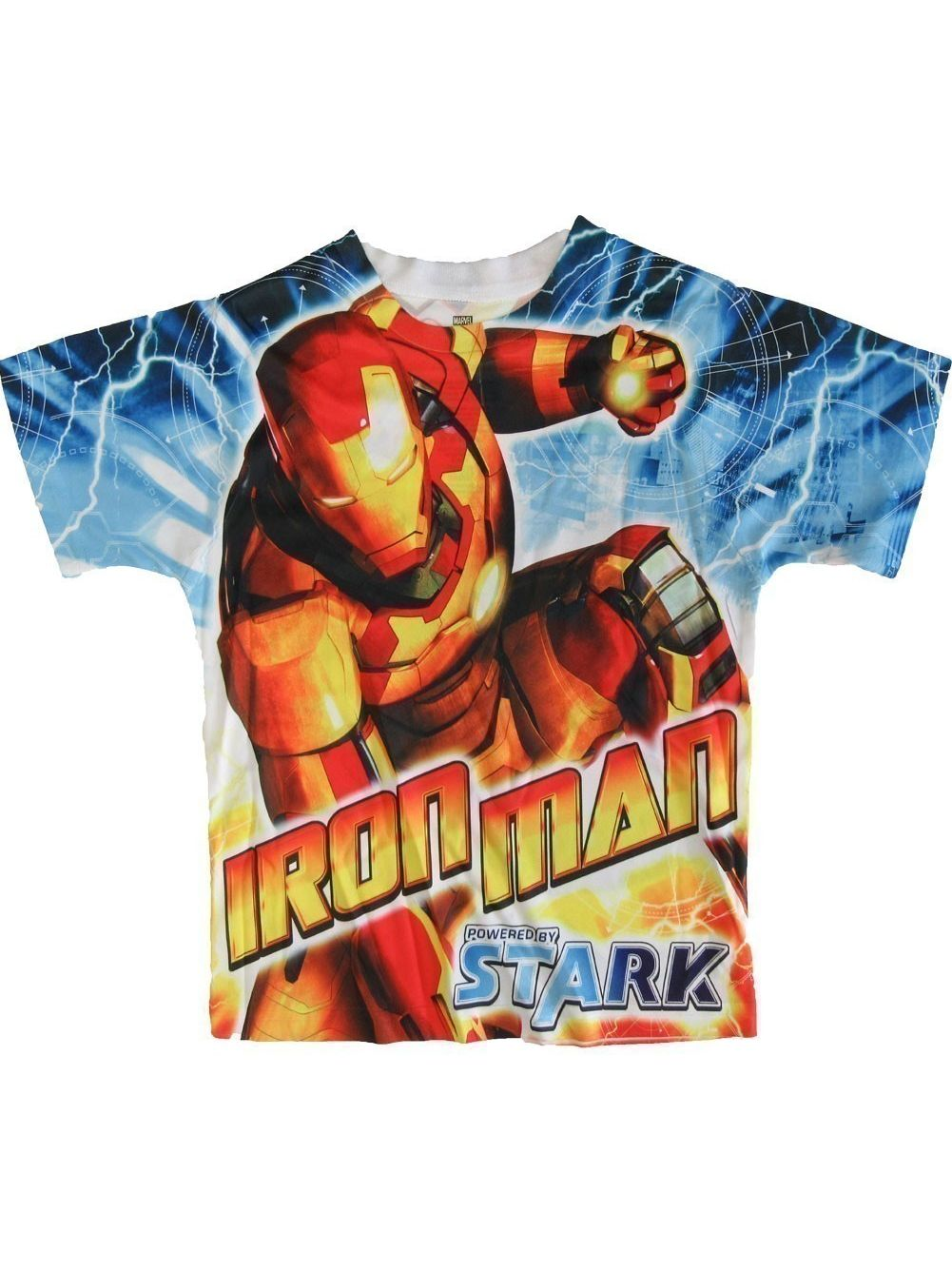 DC Comics Boys Blue Short Sleeve Iron Man Short Sleeve Shirt 4-8