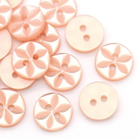 Sexy Sparkles 10 Pcs Resin Pastel Orange Round Buttons Flower Pattern 11mm