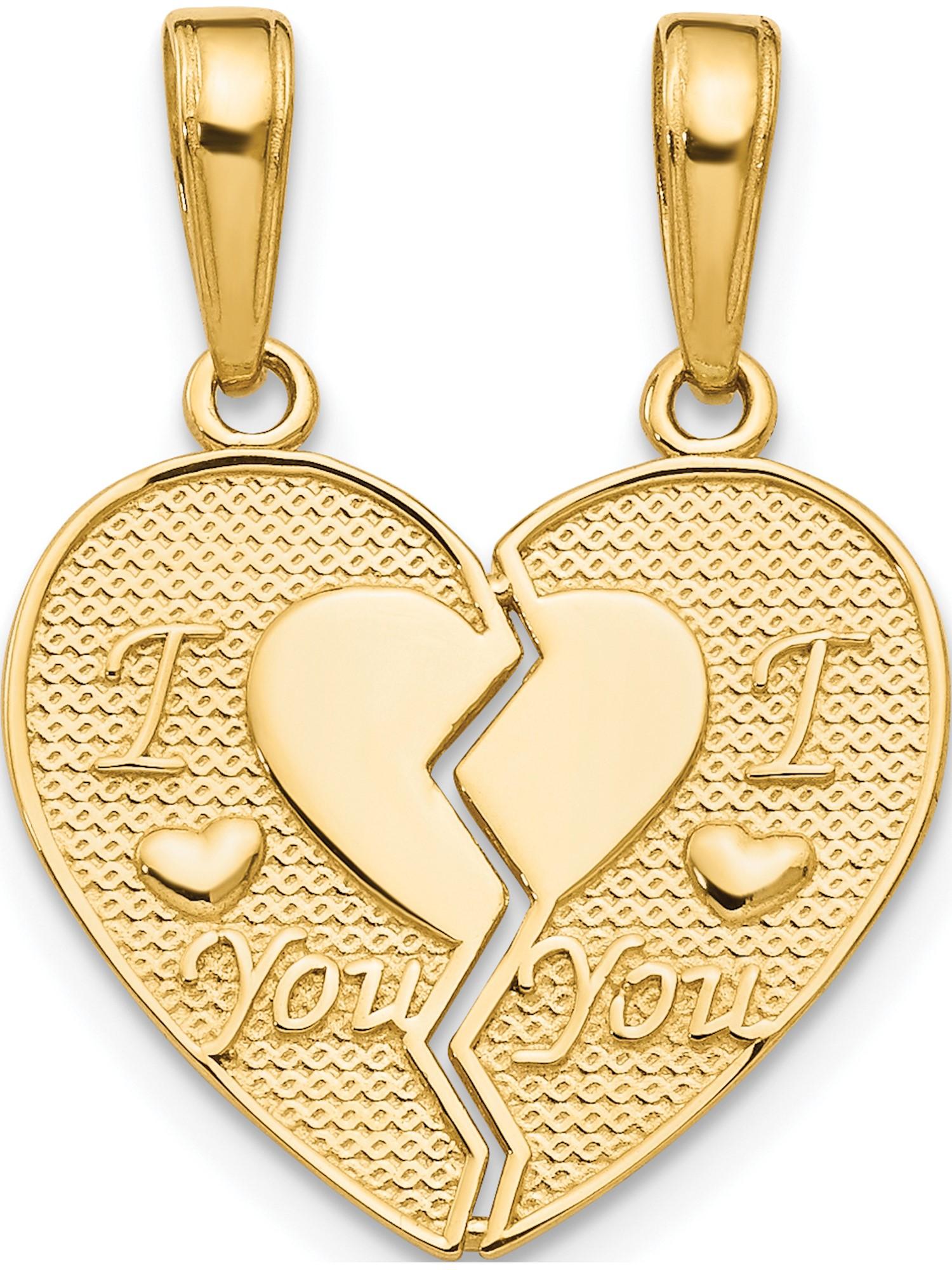 14k Yellow Gold Flat Back Heart Charm Pendant 16mm