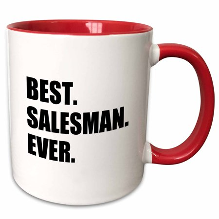 3dRose Best Salesman Ever, fun gift for great salesmen, job appreciation - Two Tone Red Mug,