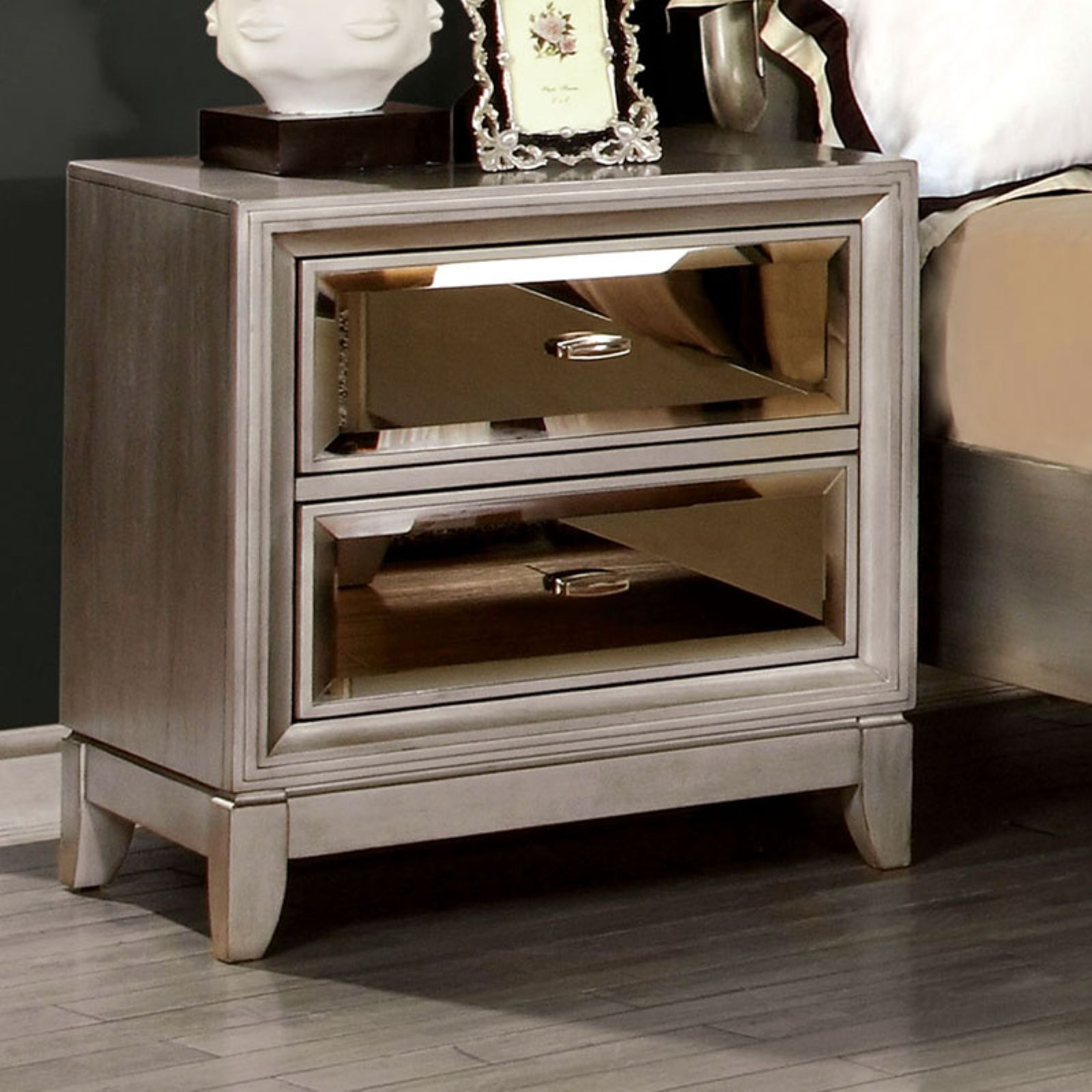 Furniture of America Glaciara 2 Drawer Nightstand