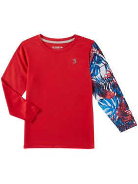 Reel Legends Little Boys Freeline Americana Palms Rashguard Large (7) Red multi