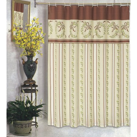 Curtains Ideas christmas curtain fabric : Carnation Home Fashions Victorian Christmas Fabric Shower Curtain ...