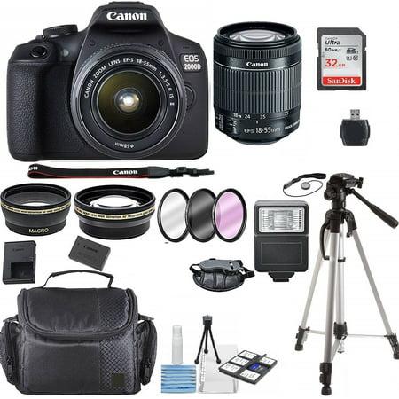 Canon EOS 2000D / Rebel T7 24.1MP Digital SLR Camera + EF-S 18-55mm lens + Original Case + Onestop Kit