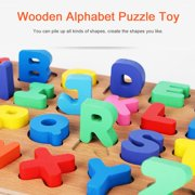 Mgaxyff Wooden Alphabet Puzzle Toy  Preschool Learning Educational Toys Building Blocks, Alphabet Puzzle Toy, Grasping Toy