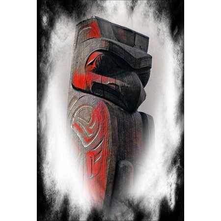 Canvas Print Textured Native Art Computer Graphic Totem Pole Stretched Canvas 10 x - Totem Poles For Sale