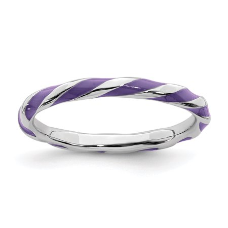 925 Sterling Silver Twisted Purple Enameled Band Ring Size 9.00 Stackable Ed Fine Jewelry Gifts For Women For Her - image 7 de 7