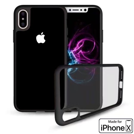 Apple iPhone X [Ultra Hybrid] Clear Hybrid TPU Bumper Case Cover (Black) - image 2 de 3