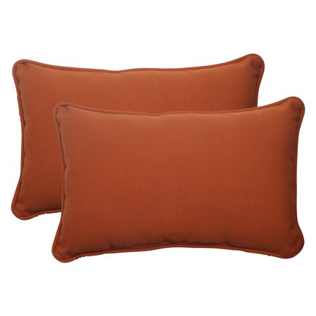 Cinnabar Type - Pillow Perfect Outdoor/ Indoor Cinnabar Burnt Orange Rectangle Throw Pillow (Set of 2)
