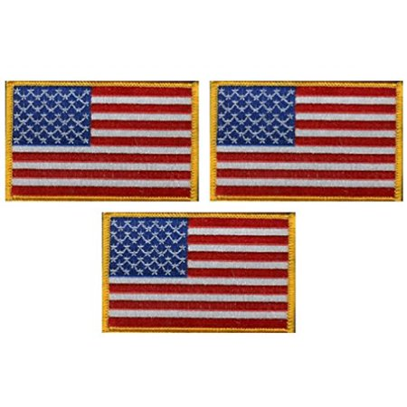 Embroidered Emblems - Pack of 3 American Flag Patches, US Embroidered Iron or Sew On Flag Patch Emblem with Gold Border