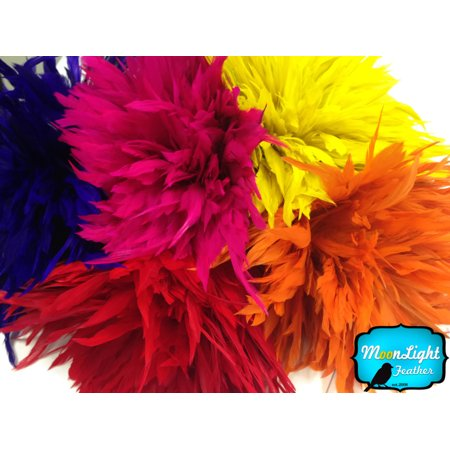 4 Inch Strip - Golden Yellow Bleached And Dyed Strung Rooster Schlappen Feathers