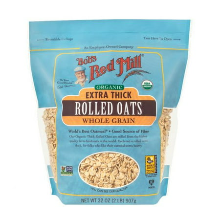 Bob's Red Mill Organic Rolled Oats, Extra Thick Rolled, 32 Ounce 32 Ounce Red Nectar
