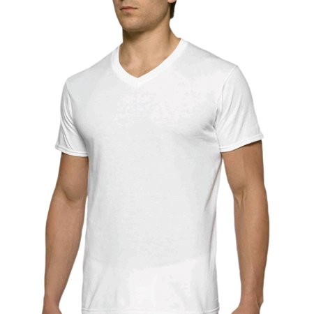 - Mens Short Sleeve V-Neck White T-Shirt, 6-Pack