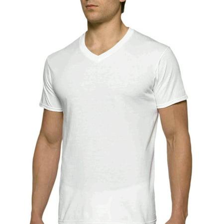 Gildan Men's Short Sleeve V-Neck White T-Shirt up to 2XL, 6-Pack