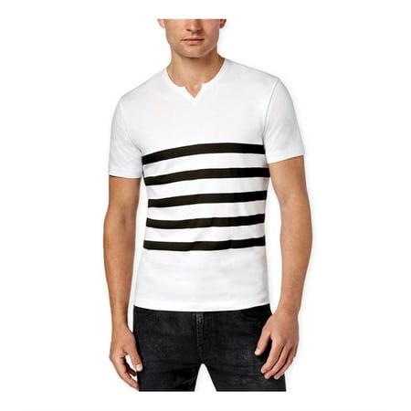 Kenneth Cole Mens Split Neck Stripe Graphic T-Shirt Orange White Striped Shirt