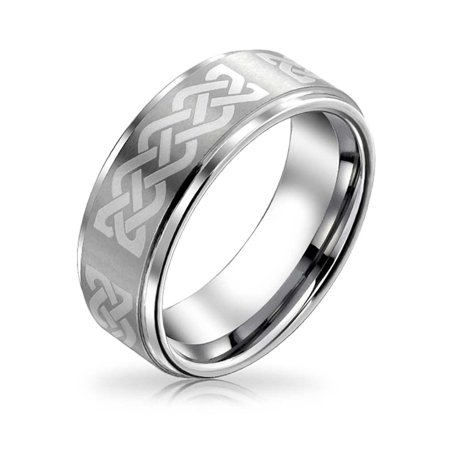 Irish Wedding Jewelry (Irish Viking Celtic Infinity Love Knot Couples Wedding Band Tungsten Rings For Men For Women Matte Silver Tone)
