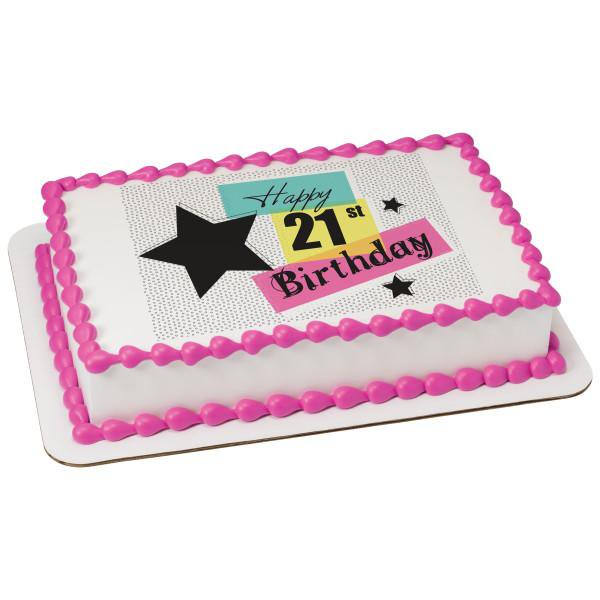 21st Birthday Edible Cake Topper Image 1 4 Sheet Walmart Com Walmart Com