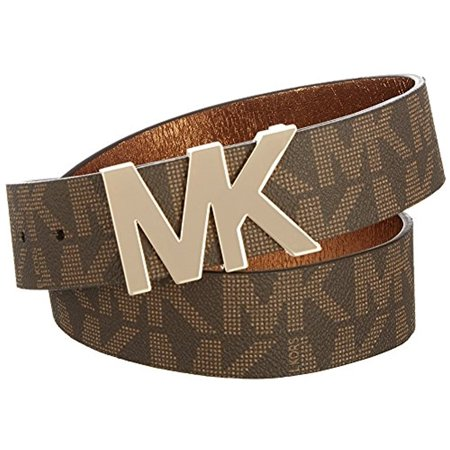 Best Michael Kors Signature Logo Belt with MK Logo Plaque Brown - Extra Large deal