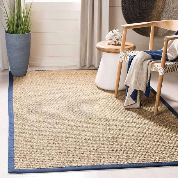 Safavieh Natural Fiber Collection Nf114e Basketweave Natural And Blue Summer Seagrass Area Rug 2 6 X 4 Walmart Com Walmart Com