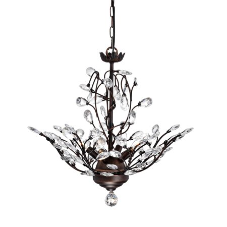 The Lighting Store Holly 4-light Antique Copper Crystal Leaves Chandelier