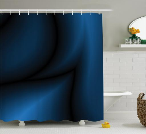 Navy Blue Shower Curtain, Deep in the Majestic Ocean Themed Dark Blue Colored Design with Reflections Image, Fabric Bathroom Set with Hooks, Dark Blue, by Ambesonne