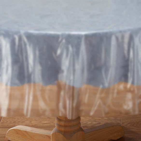 Plastic Round Tablecloth, 84 In, Clear, 1ct