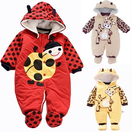 Baby Toddler Unisex Cute Fleece Warm Cartoon Printed Coat Jumpsuit Outfit