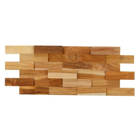 Bare Decor EZ-Wall Brick 3D Pattern Tile in Solid Teak Wood, Set of 10 Natural Finish Tiles