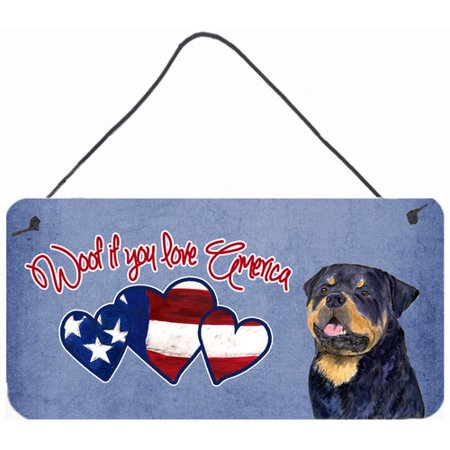 Caroline's Treasures Woof if you love America Rottweiler by Suzanne Staines Painting Print Plaque