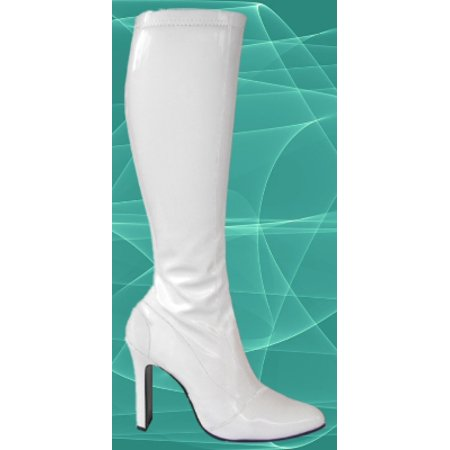 Go Sexy White Patent Knee High Heel Dancer Boots 10 - 70s Go Go Boots
