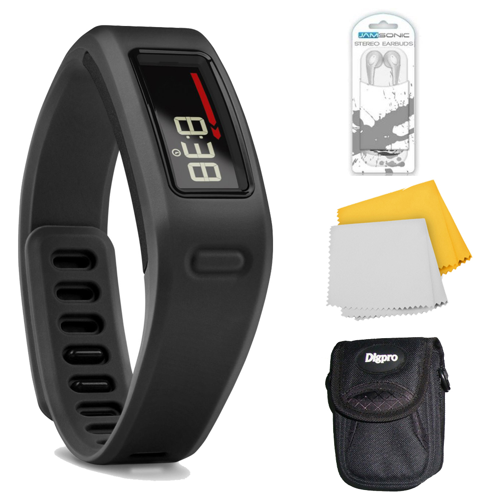 Garmin Vivofit Bluetooth Fitness Band Plus Accessory Bundle (Black). Bundle Includes Xtreme Audio Earbuds with Microphone, Deluxe Case, and Micro Fiber Cleaning Cloth