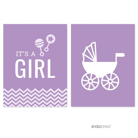 Lavender Chevron Print Baby Shower Party Signs & Banner Decorations, 20-Pack