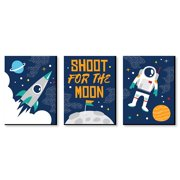 Blast Off to Outer Space - Rocket Ship Nursery Wall Art and Kids Room Decor - 7.5 inches x 10 inches - Set of 3 Prints