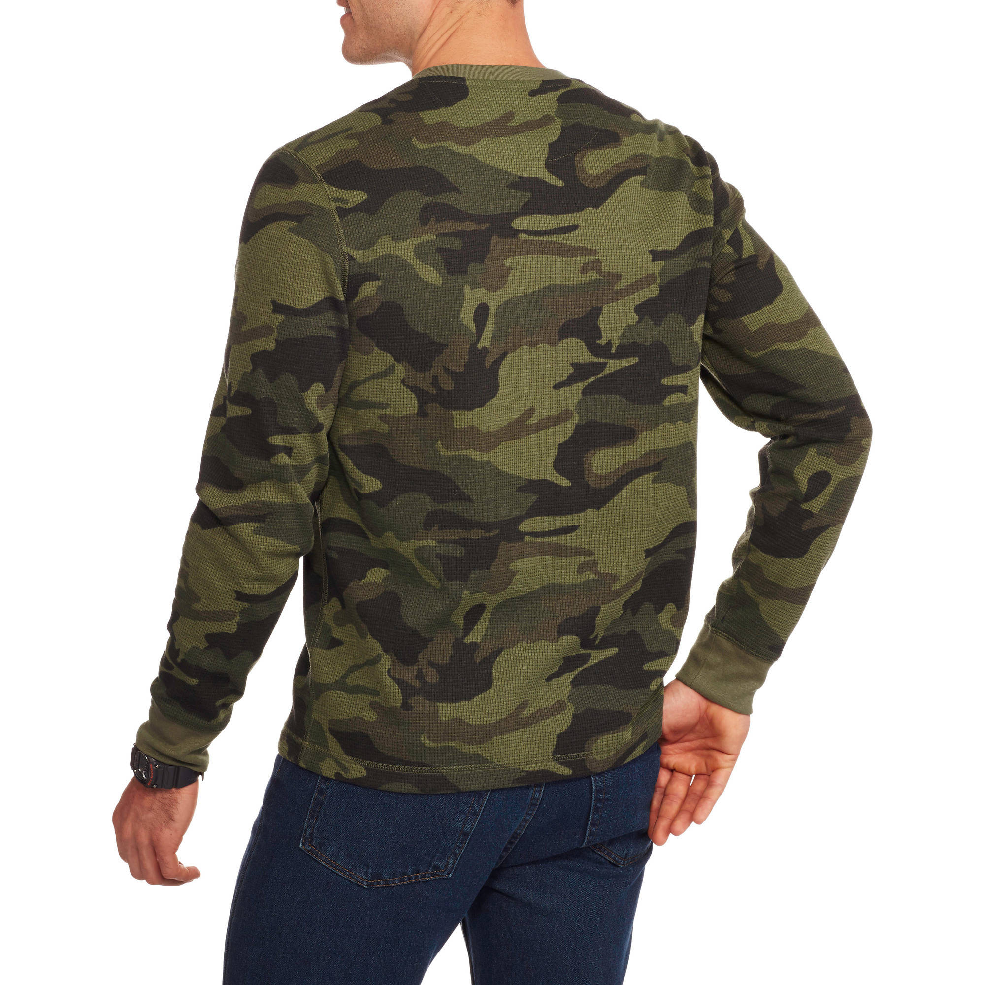 Mens long sleeve thermal henley faded glory flat head for Mens long sleeve pullover shirts