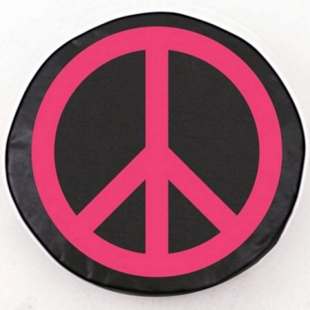 Tire Cover by Holland Bar Stool - Pink Peace Sign, Black - 25.5'' x 8''