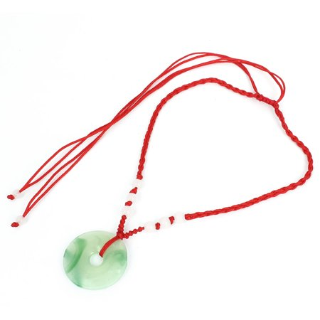 - Pull String Faux Jade Circle Design Dangle Decor Necklace Green Red for Ladies