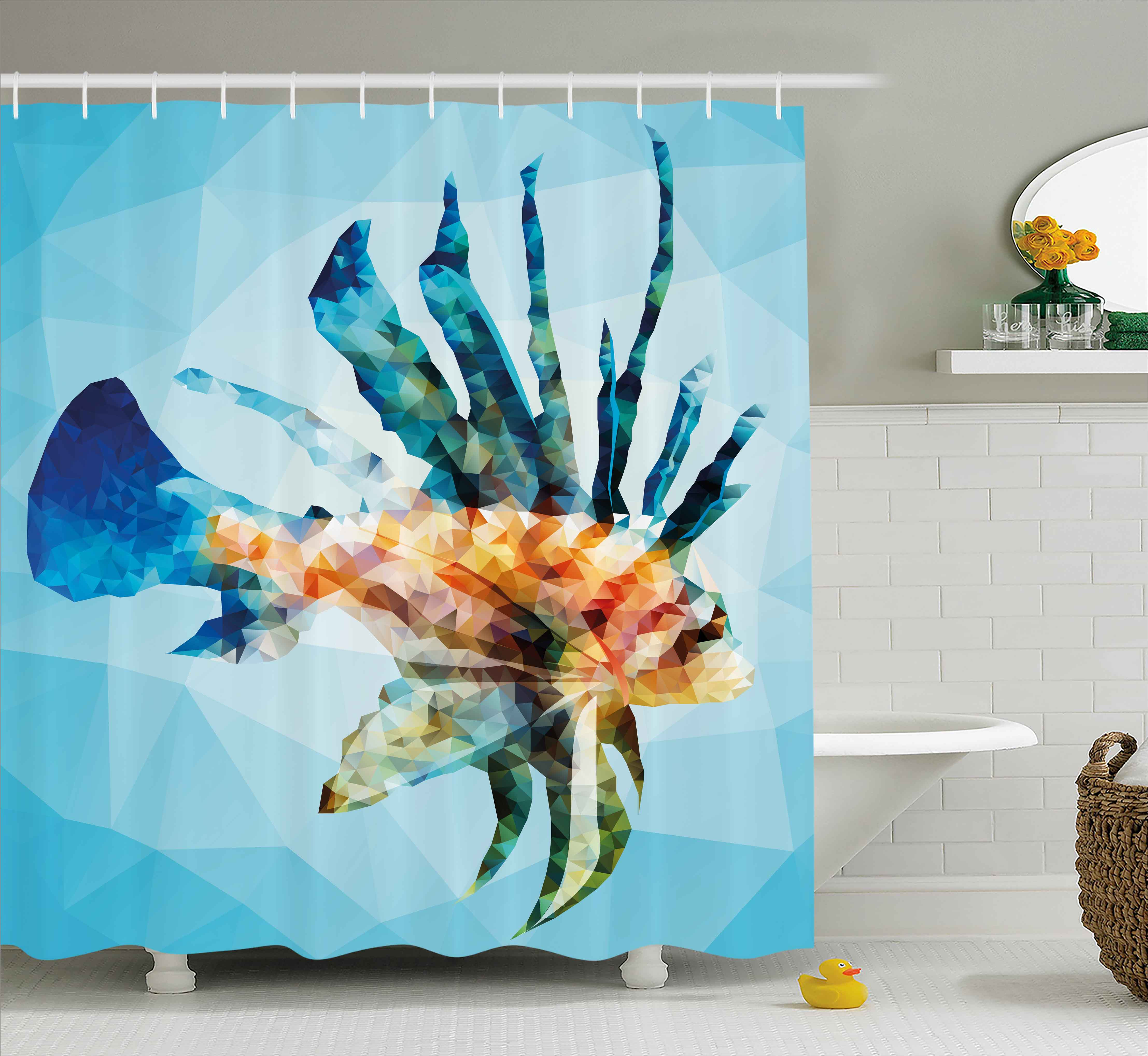 Fish Shower Curtain, Underwater Themed Ornamental Fish in the Style of Polygon Graphics Pattern, Fabric Bathroom Set with Hooks, 69W X 75L Inches Long, Blue and Sky Blue, by Ambesonne
