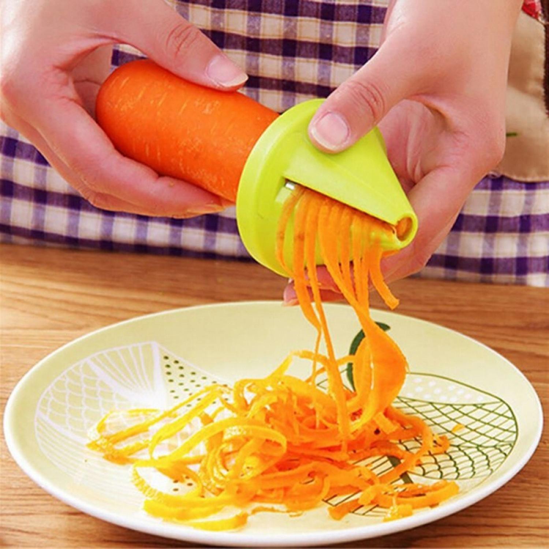 Vegetable Slicer Gadget Funnel Vegetable Carrot Radish Cutter Shred Slicer Spiral Device Kitchen Tool Slicer GOGBY