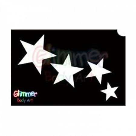 Tattoo Nautical Stars (Glimmer Body Art Glitter Tattoo Stencils Stars 2 (5/pack) )