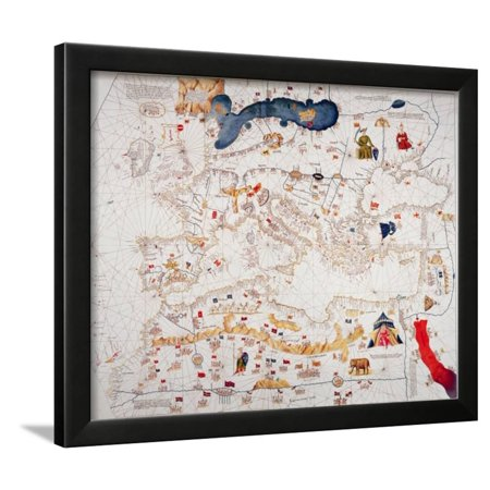 Copy of Catalan Map of Europe, North Africa and the Middle East Framed Print Wall Art By Abraham (Map Of Europe Middle East And North Africa)
