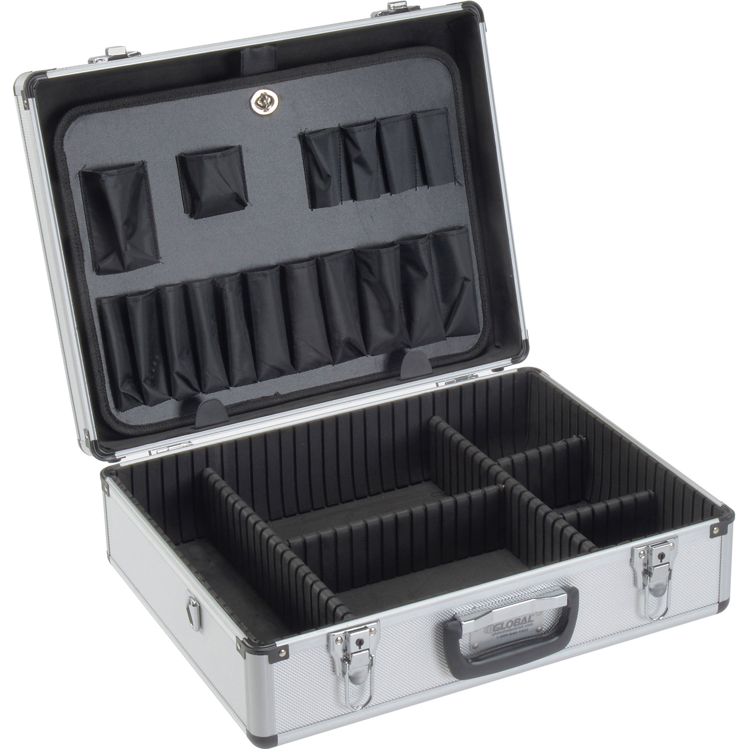 "Aluminum Tool Case, 18"" x 14"" x 6"" with Tool Panel, Foam and Dividers, Lot of 1"