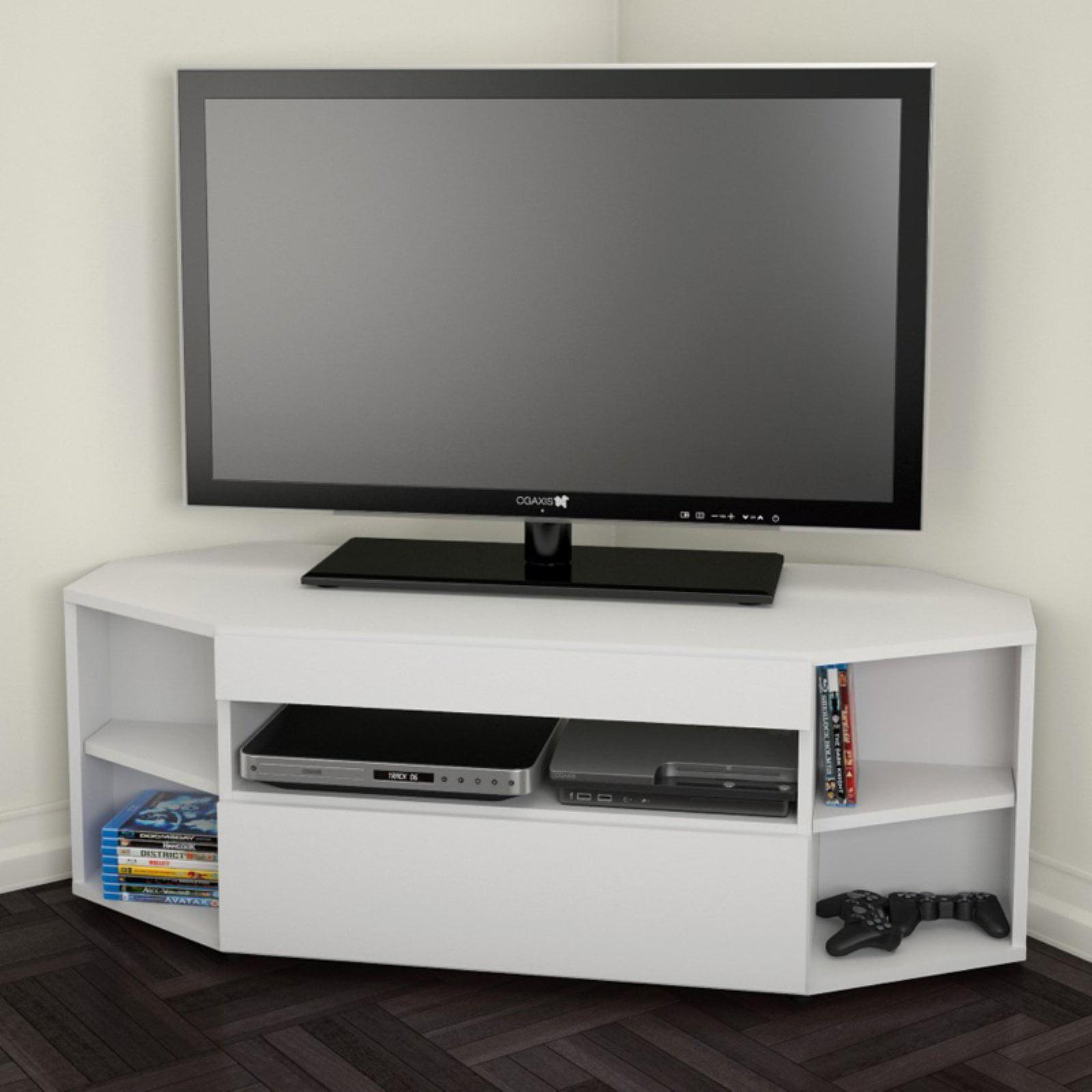 Nexera Allure Ebony White Corner Tv Stand For Tvs Up To 48
