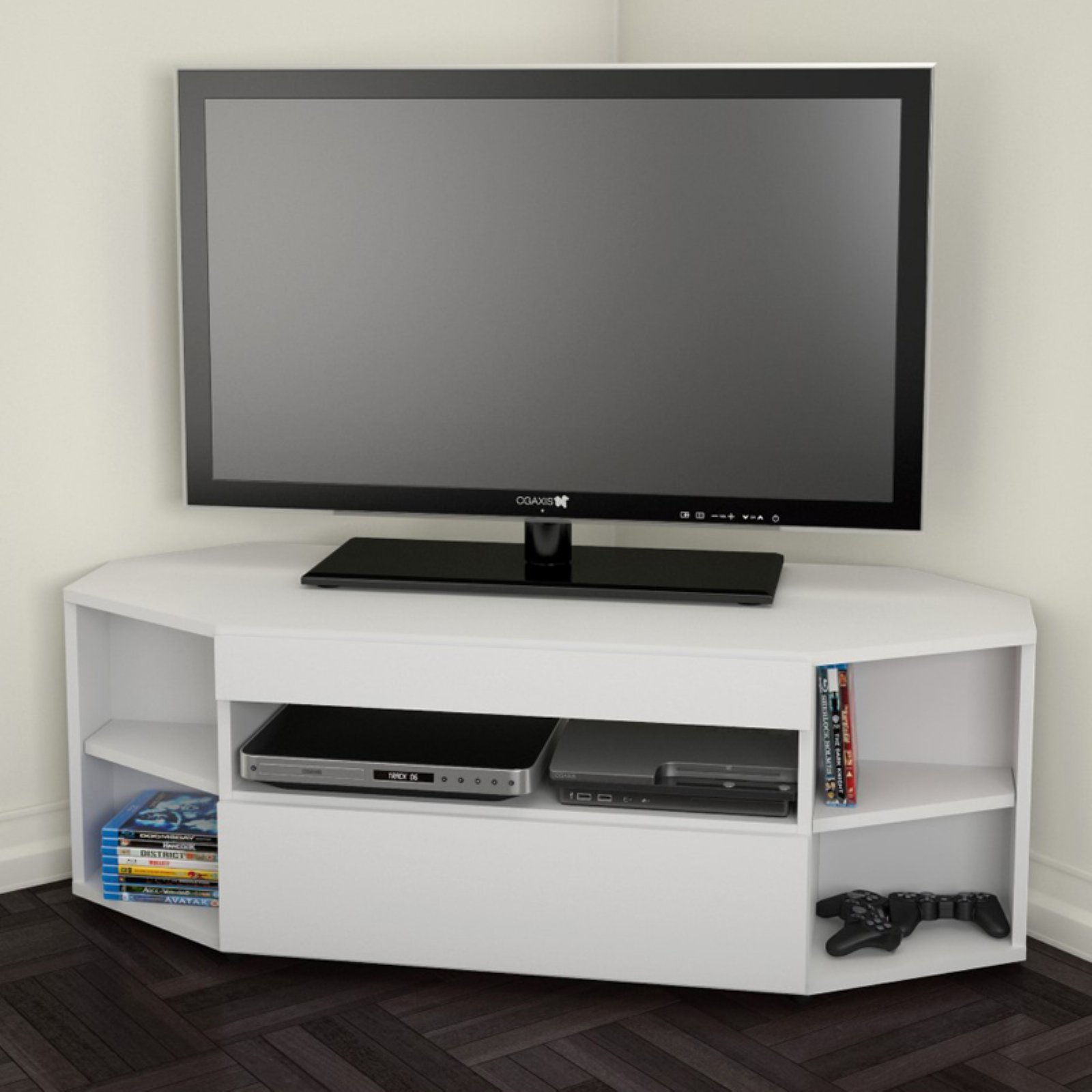 Nexera Allure Ebony/White Corner TV Stand for TVs up to 48""