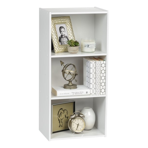 IRIS USA 3 Tier Wood Bookshelf, White - Walmart.com - Walmart.com