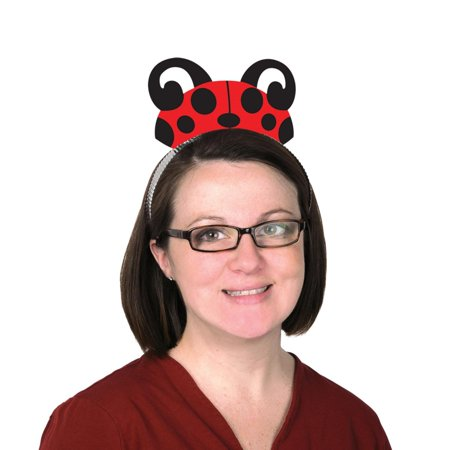 Club Pack of 12 Red and Black Printed Ladybug Party Tiara Headbands - Red Tiaras