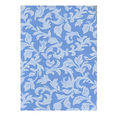 Blue White Scroll Vinyl Tablecloth Flannel Backed 70