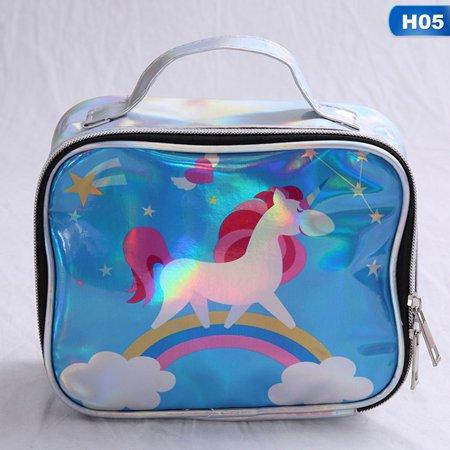 TURNTABLE LAB Unicorn Make Up Bags Idea Cosmetic PU Laser Travel Girls Gift Makeup Vogue (Pocahontas Makeup Ideas)